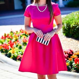 Hot Pink Fit and Flare Party Dress